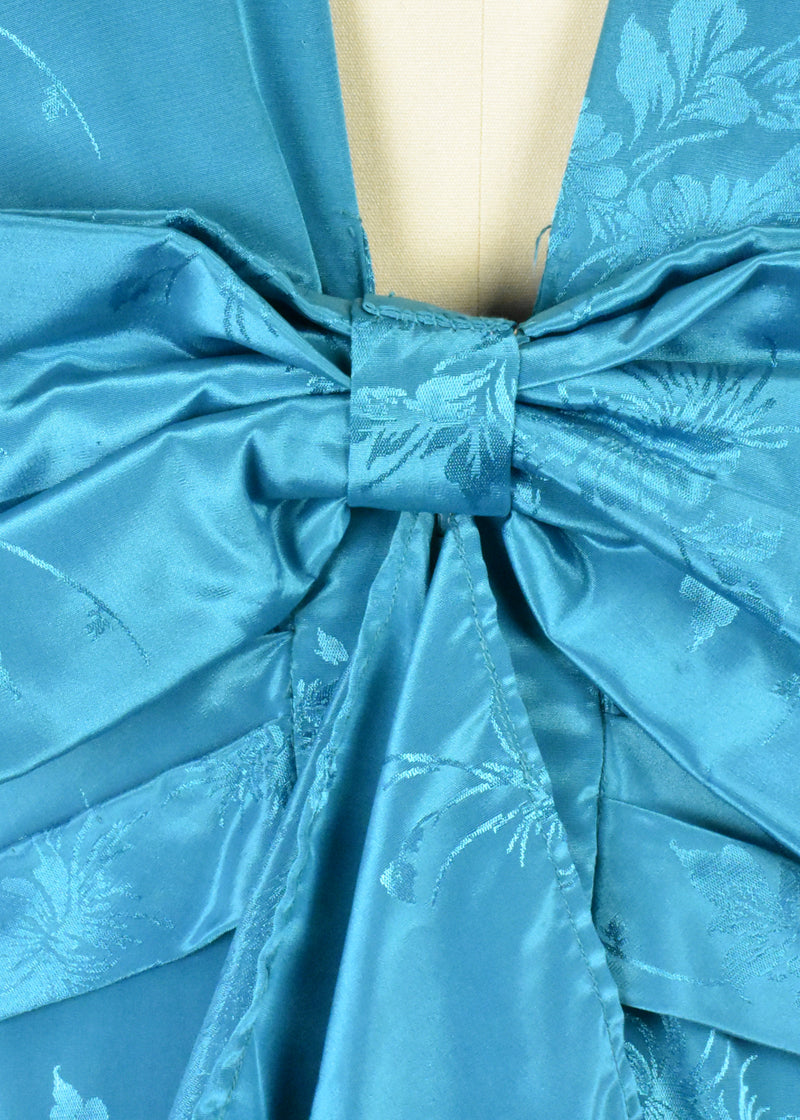 Turquoise 1980's Cocktail Dress with Deep V Back and Bow