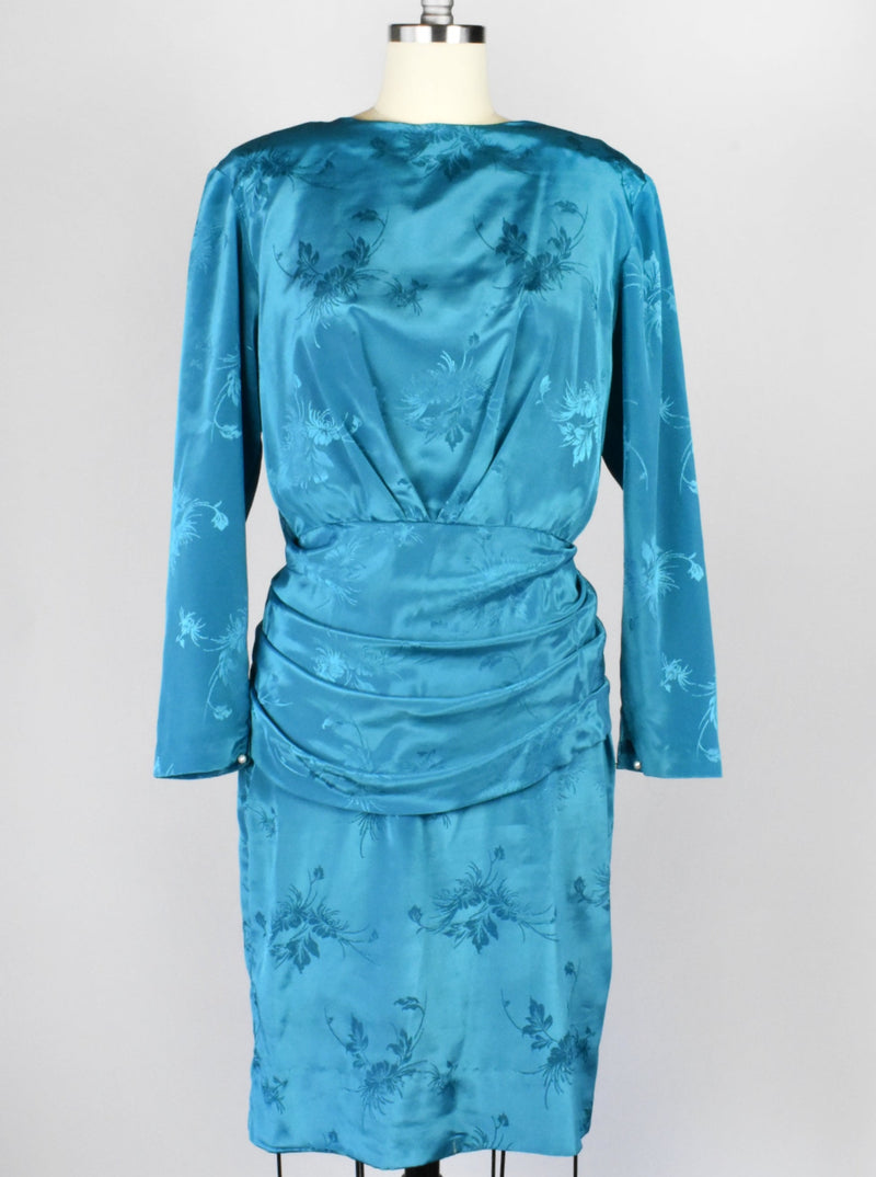 Vintage Turquoise 1980's Cocktail Dress with Deep V Back and Bow