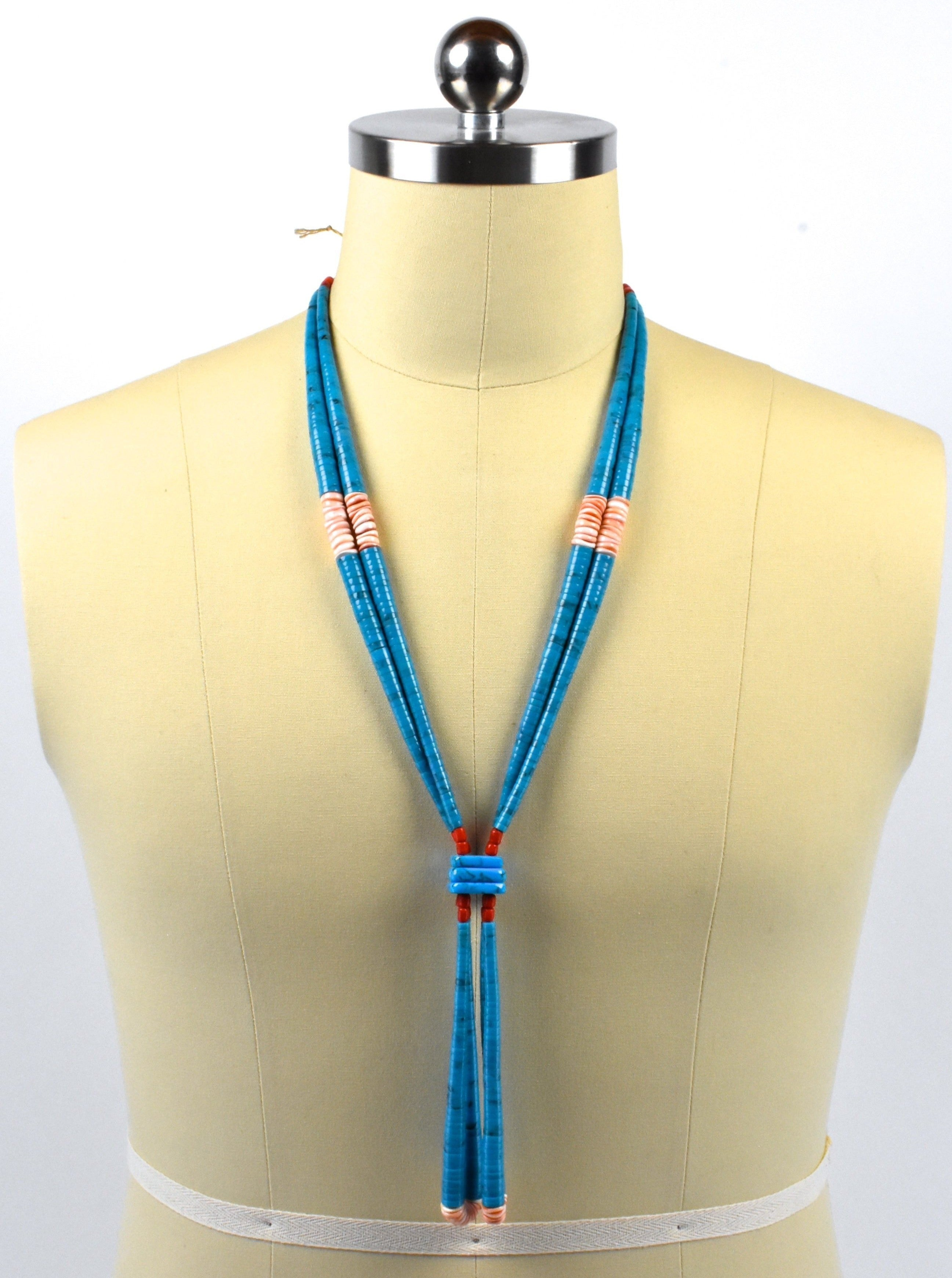 Long Turquoise, Coral Heishi Jacla Necklace with Double Loops