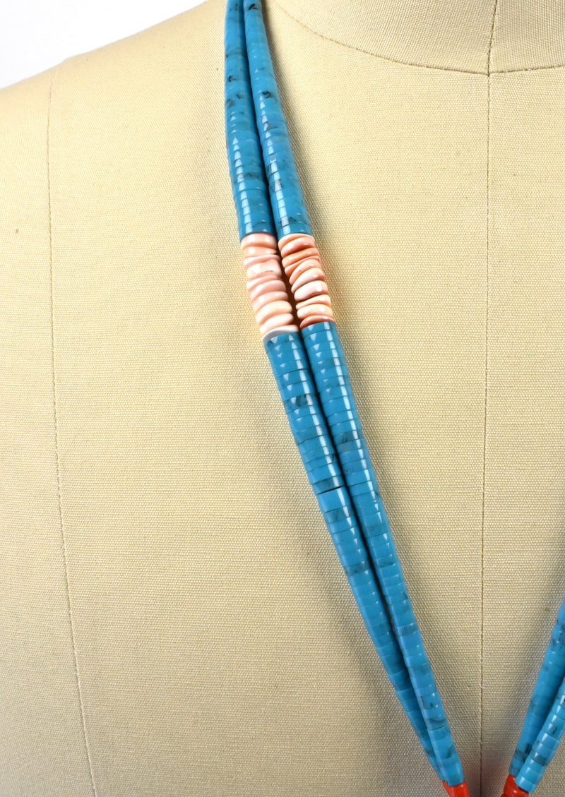 Long Turquoise, Coral, Heishi Jacla Necklace with Double Loops