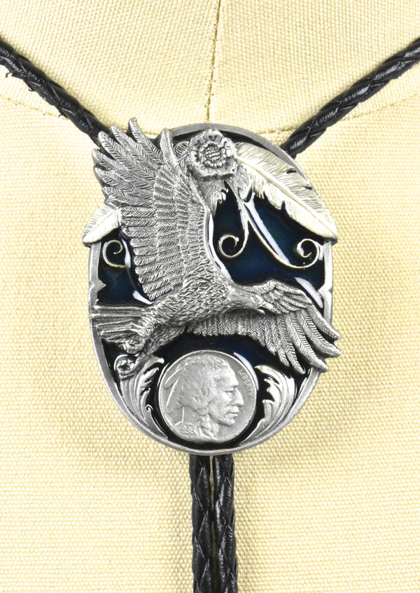 1995 Soaring Eagle and Buffalo Nickel Bolo Tie by Siskiyou Buckle Company, Made in the USA