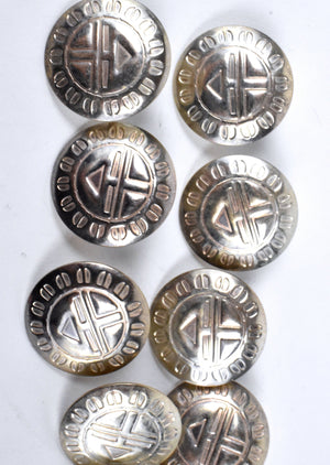 10 Sterling Silver Sun Kachina Buttons