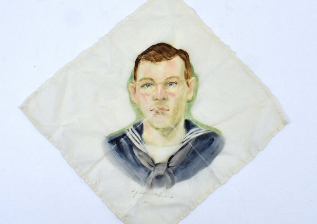 1951 Silk Handkerchief of US Navy Seaman, Hand Painted in Yokohama, Japan