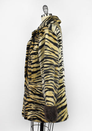 Vintage Faux Fur Tiger Print Coat