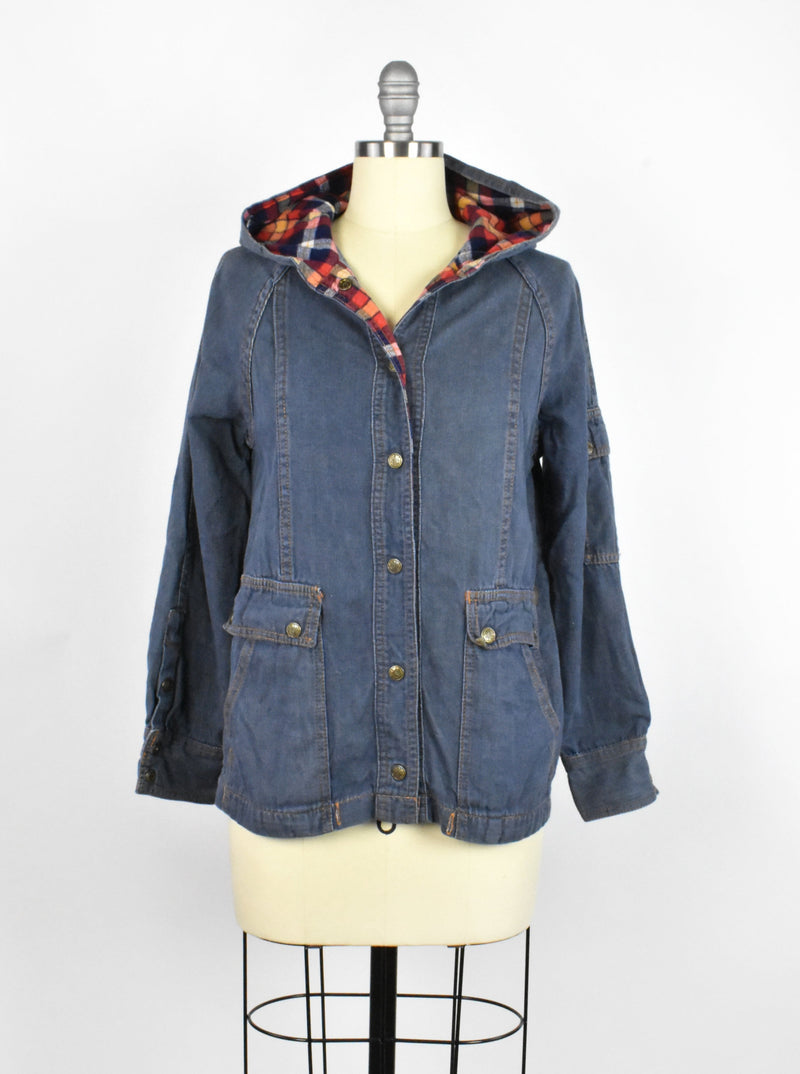 Vintage Denim Chore Jacket with Plaid Hood
