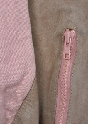 1980's Pink and Tan Suede Leather Jacket