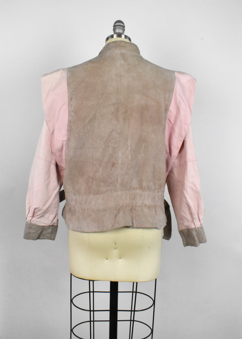 Vintage 1980's Pink and Tan Suede Leather Jacket