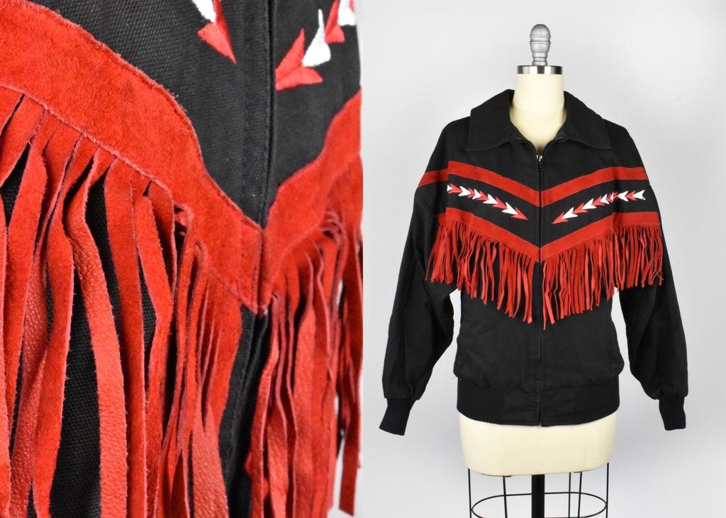 Black Southwestern Jacket with Red Fringe