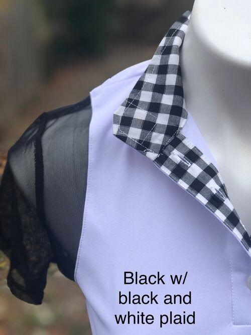 White with black sleeves-black and white plaid