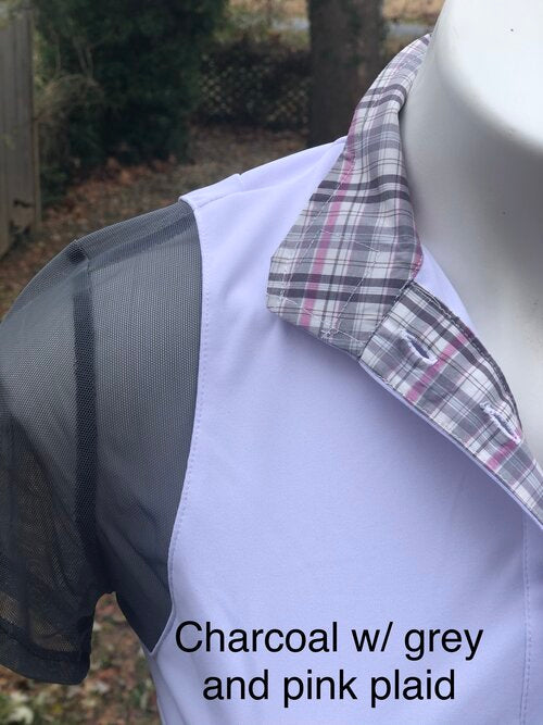 White with charcoal sleeves-grey and pink plaid collar