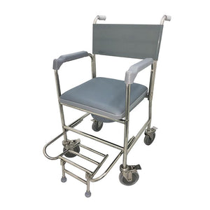 Stainless Steel Commode with Stainless Steel Fork & PVC Seat Cushion - Lifeline Corporation