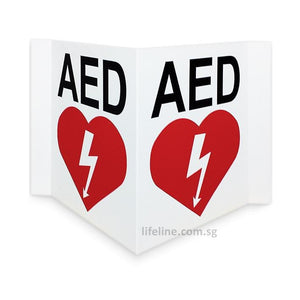 AED Signage 3-Way (Triangular) - Lifeline Corporation