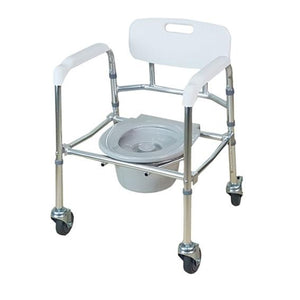 Aluminium Foldable Height Adjustable Mobile Commode - Lifeline Corporation