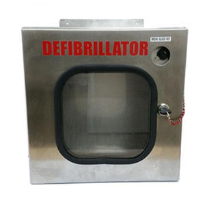 AED Wall Mount Enclosure Stainless Steel (Weather resistant) - Lifeline Corporation