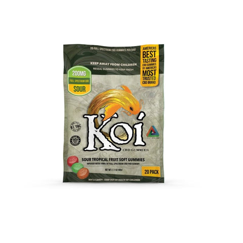 Image of Koi Sour Tropical Fruit Gummies - 20 Pc. Bag - Each - MADE IN USA