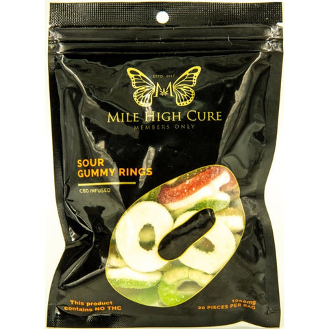Mile High Cure Hemp Sour Gummy Rings 1000mg - Single Pack - CBD
