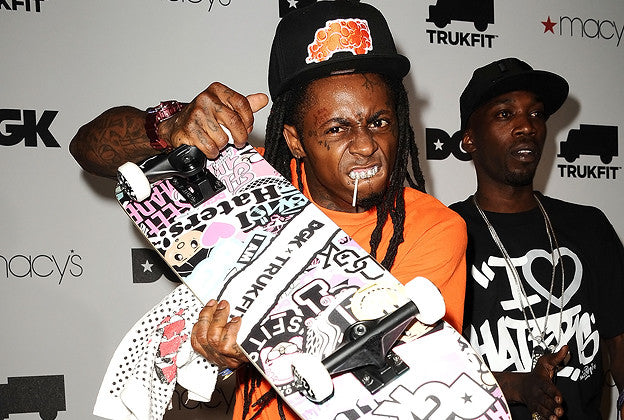 Lil' Wayne Skateboards In His Odd Sox
