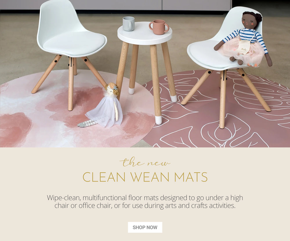 Clean Wean Mats, Wipe-clean, multifunctional floor mats designed to go under a high chair or office chairr, or for use during arts and crafts activities.
