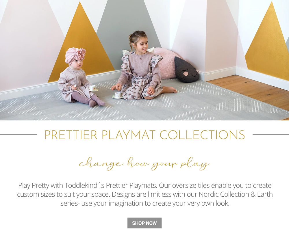 Prettier Playmat Collections, change how you play, play pretty with toddlekind's prettier Playmats. Our oversize tiles enable you to create custom sizes to suit your space.Designs are limitless with nordic collection & Earth series- use your imagination to create your very own look.