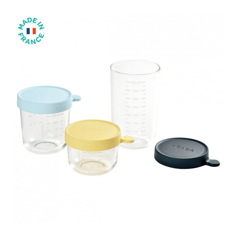 Beaba Conservation Jar Glass Set of 3 150ml/250ml/400ml