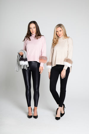 Fur Trimmed Turtle Neck Top