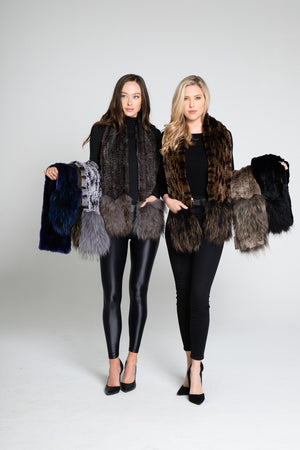 Luxury Fur Scarf with Fox Pockets