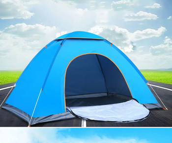 Fully Automatic Oxford Fabric Camping Tent 2-3 Person Anti-UV Windproof Waterproof in Blue
