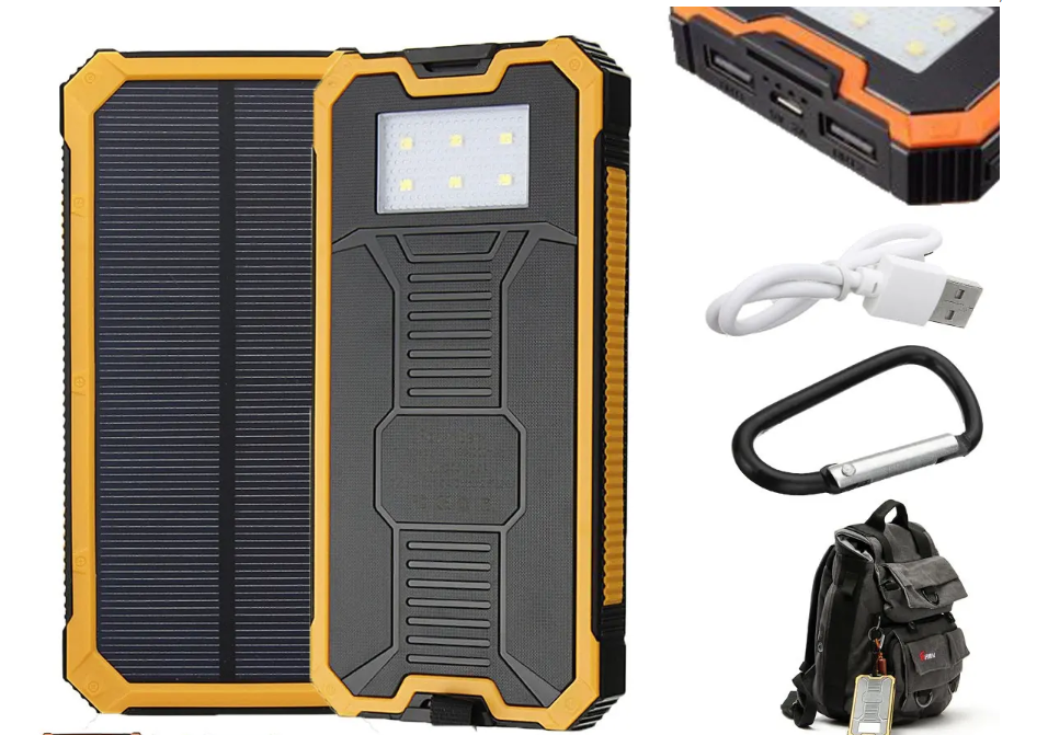 Portable Solar Dual USB Waterproof Battery Power Bank Charger 8000mAh