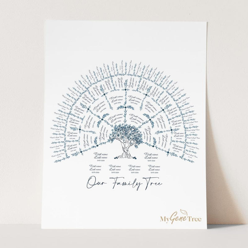'Limited Edition' Olive Family Tree Hamptons Blue Digital Family Tree Template mygenetree