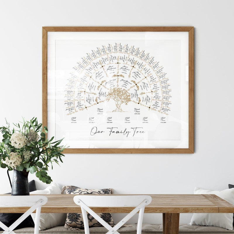 'Limited Edition' Olive Family Tree Taupe with Children Digital Family Tree Template mygenetree