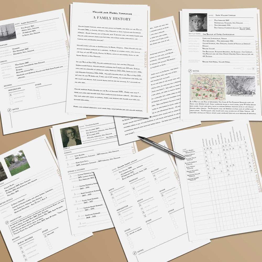 Ultimate Genealogy Research Pack (Fillable PDF) Blank Printable Charts MyGeneTree