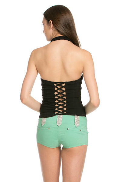 Oh Yes D6625 Lace Up Collar Halter Blk