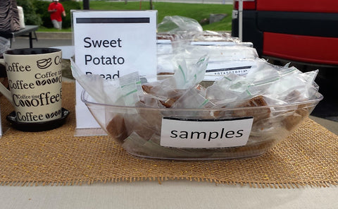 Photo of Bananatopia's farmers market table with closeup on samples
