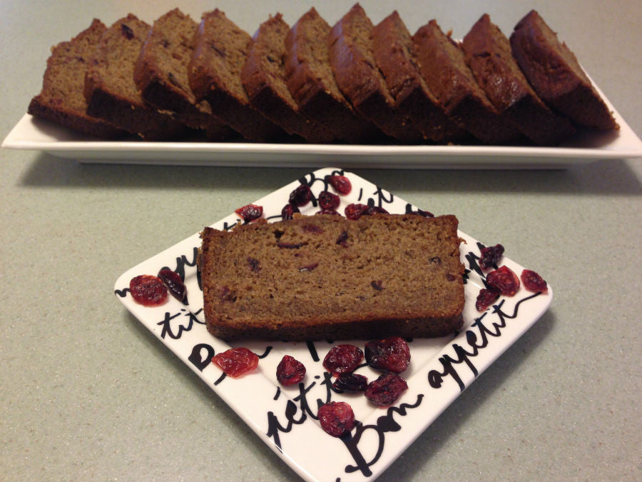 Slices of cranberry banana bread