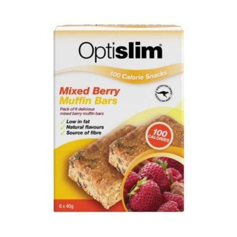 Optislim Mixed Berry Muffin Bars 100 Calories 6x40g