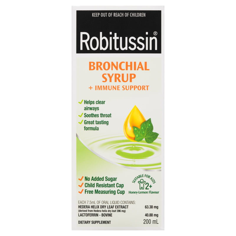 Robitussin Bronchial Syrup + Immune Support Honey Lemon Flavour 200mL