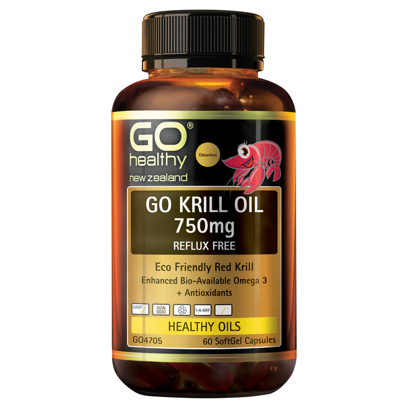 GO Krill Oil 750mg Reflux Free 60 Caps