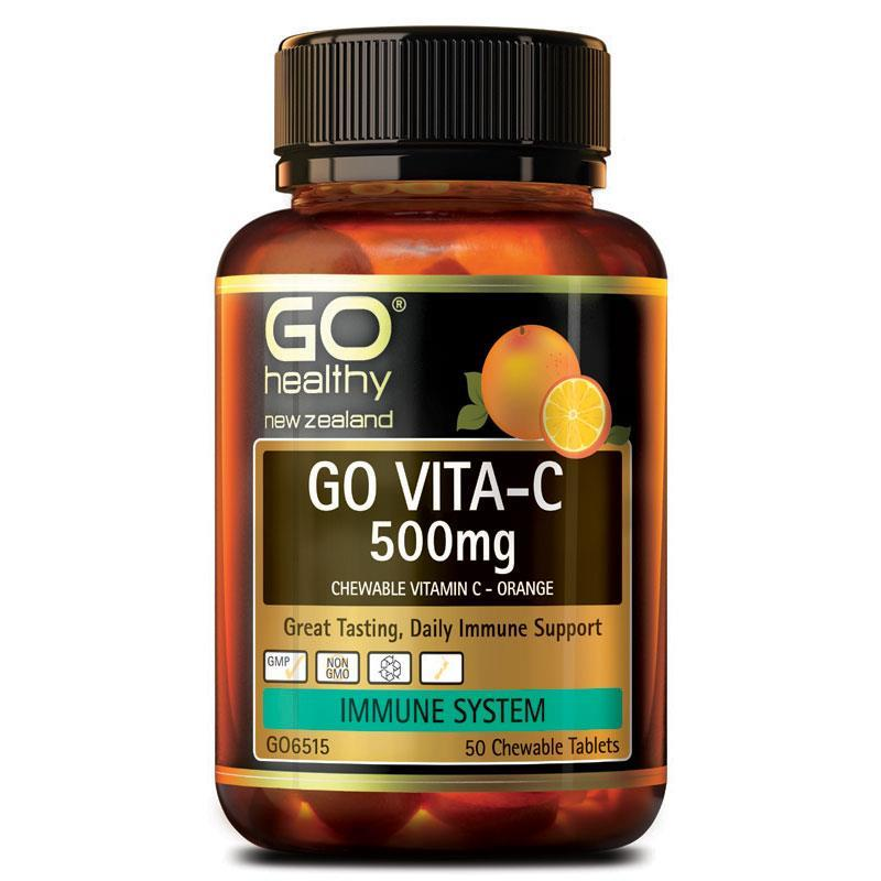 Go Healthy Go Vita-C 500mg 50 Chewable Tablets Orange