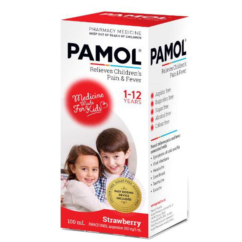 PAMOL All Ages Strawberry Colour Free 100ml