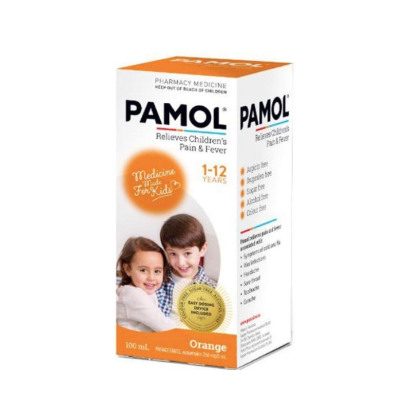 Pamol Childrens Fever and Pain Colour Free Orange 100ml