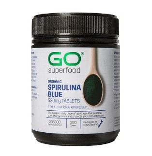 GO Superfood Organic Spirulina Blue 530mg Tablets 300