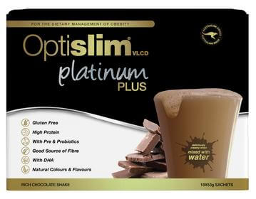 Optislim VLCD Platinum Plus Meal Replacement Shake Chocolate 18 x 53g
