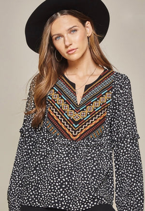 Savanna Jane Black Dot Long Sleeve Embroidered Top