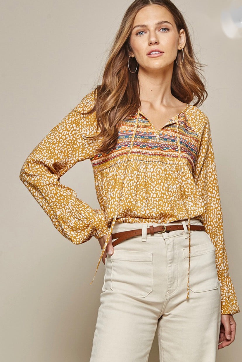 Savanna Jane Marigold Embroidered Top
