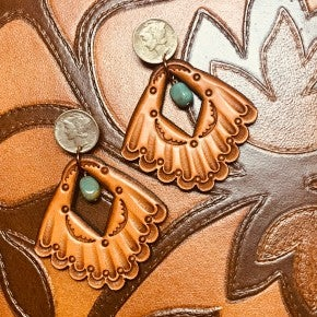 J.Forks Coin Stud Leather Fan & Turquoise Earrings