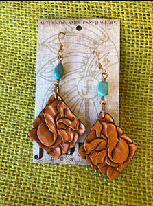 Tooled Rose Leather Earrings with Turquoise J.Forks