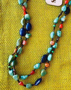 Turquoise , Coral , Lapis, Jasper & Shell Necklace J.Forks