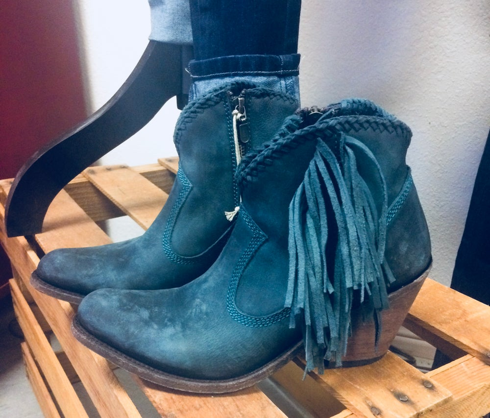 Liberty Black Fringe Shorties Turquoise Boots