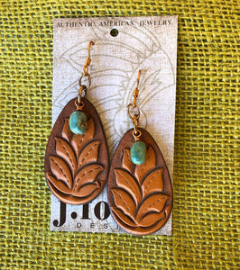 J.Forks Tooled Century with Turquoise Drops Earrings