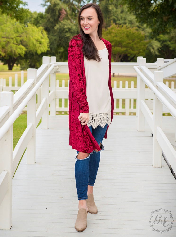 Red Crushed Velvet Duster